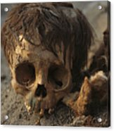 A Close View Of A Human Skull Acrylic Print by Ira Block