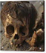 A Close View Of A Human Skull Acrylic Print