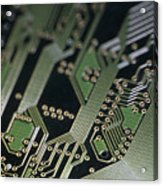 A Close View Of A Silicon Circuit Board Acrylic Print by Taylor S. Kennedy