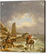 A Coastal Landscape Of The Isle Of Wight With Figures On Horse Back Near A Cottage Acrylic Print