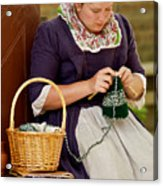 A Colonial Lady Knits Acrylic Print