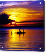 A Colorful Golden Fishermen Sunset Vertical Print Acrylic Print