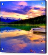 A  Colourful Evening At Lake Patricia Acrylic Print
