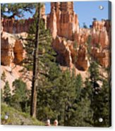 A Couple Hikes Along A Trail In Bryce Acrylic Print