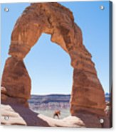 A Couple Kissing Under Delicate Arch In  The Arches National Par Acrylic Print