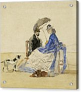 A Couple Seated On The Beach With Two Dogs Acrylic Print
