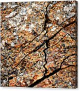 A Crack On A Brown Stone Block Acrylic Print