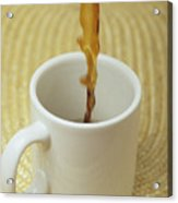 A Cup Of Energy Filled Coffee Is Poured Acrylic Print