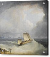 A Deal Lugger Going Off To Storm Bound Ships In The Downs Acrylic Print