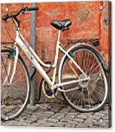 A Dejected Bicycle Waits Patiently On A Cobbled Street In Rome. Acrylic Print