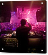 A Dj Plays To His Crowds On A Busy Acrylic Print by Justin Guariglia