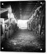 Farmer's Woodpile At Lusscroft Farm In Black And White Acrylic Print