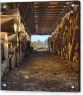 Woodpile At Lusscroft Farm In Color Acrylic Print