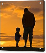 A Father And His Baby Son Watch Acrylic Print by Jason Edwards