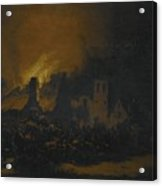 A Fire In A Village At Night Acrylic Print