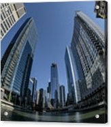 A Fisheye View Of The Chicago Skyline As You Appraoch Wolf Point Acrylic Print