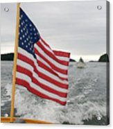 A Flag Waves On The Stern Of A Maine Acrylic Print by Heather Perry