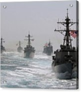 A Fleet Of Ships In Formation At Sea Acrylic Print