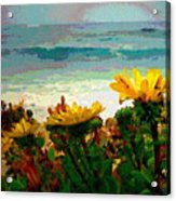 A Flowery View Of The Surf Watercolor Acrylic Print
