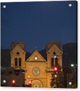 A Full Moon Rises Over  Cathedral Acrylic Print