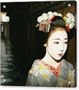 A Geisha In Traditional Costume Walks Acrylic Print by Paul Chesley