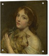 A Girl With A Lamb Acrylic Print