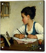 A Girl Writing. The Pet Goldfinch Acrylic Print