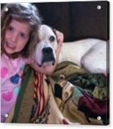 A Girlie-girl And Her Dog Acrylic Print