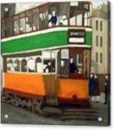 A Glasgow Tram With Figures And Tenement Acrylic Print
