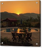 A Golden Sunset In Loas Acrylic Print