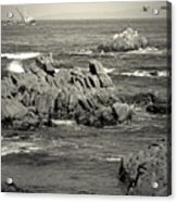 A Good Day Fishing On Monterey Bay In Black And White Acrylic Print