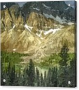 A Gray Sky Over The Canadian Rockies Acrylic Print