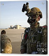 A Green Beret Waits To Have His Gear Acrylic Print