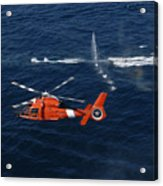 A Helicopter Crew Trains Off The Coast Acrylic Print by Stocktrek Images