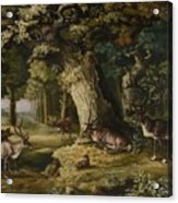 A Herd Of Stag And A Fawn In A Woodland Landscape Acrylic Print