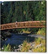 A Hiker Crosses A Bridge Acrylic Print