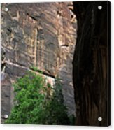 A Hiker Walks Among The Narrow Acrylic Print