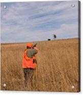 A Hunter Shoots A Ring Necked Pheasant Acrylic Print