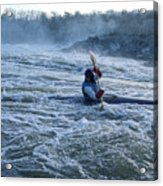A Kayaker Takes On White Water Rapids Acrylic Print