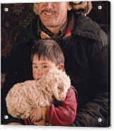 A Kazakh Eagle Hunter And His Son Acrylic Print by David Edwards