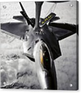 A Kc-135 Stratotanker Refuels A F-22 Acrylic Print by Stocktrek Images