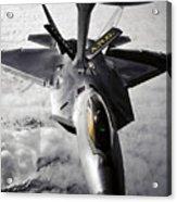 A Kc-135 Stratotanker Refuels A F-22 Acrylic Print