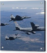 A Kc-135r Stratotanker Refuels Three Acrylic Print by HIGH-G Productions