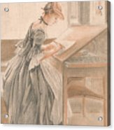 A Lady Copying At A Drawing Table Acrylic Print