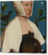 A Lady With A Squirrel And A Starling Anne Lovell Acrylic Print