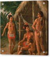 A Leeward Islands Carib Family Outside A Hut Acrylic Print