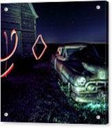 A Light Painted Scene Of A Rusty Caddy By A Barn And Cornfield Acrylic Print