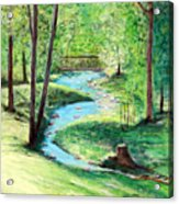 A Little Brook With A Bridge Acrylic Print
