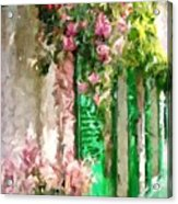 A Little Cozy Street With Roses Acrylic Print
