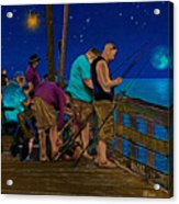 A Little Night Fishing At The Rodanthe Pier 2 Acrylic Print by Anne Kitzman